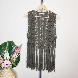 Maurices Olive Green Crochet Fringe Vest